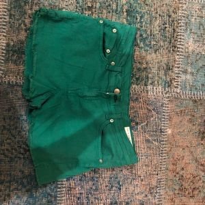 Rag and Bone green cut off shorts - size 29